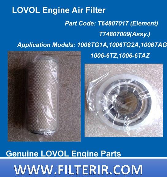 Lovol-Air-Filter-Element-T64807017-1003G-1003TG-1004G-1004TG-1006TG1A-1006TG2A-1006TAG-1004-4Z-1004-4TZ-1006-6TZ-T64807016-T64807001-T64906001-T64907001-T74807011-T74807012